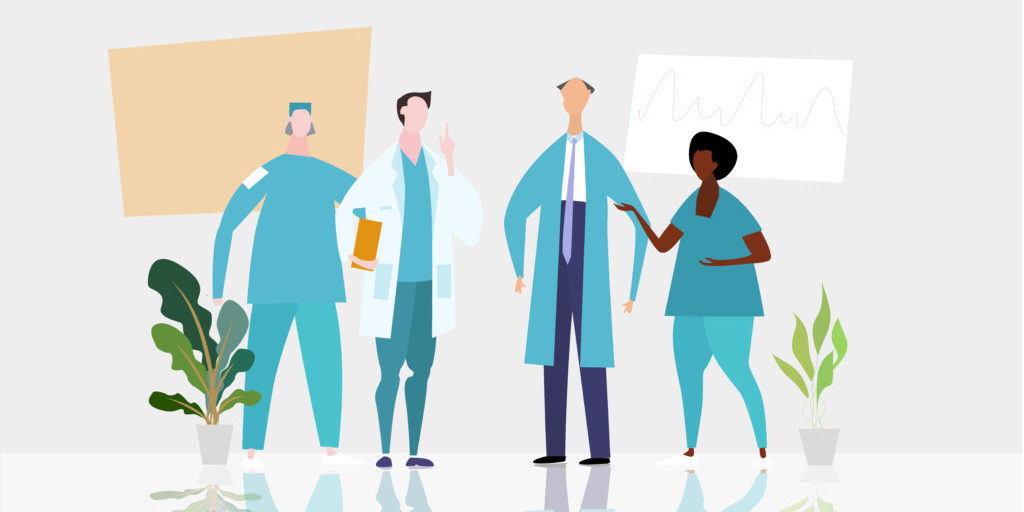 Doctors and nurses talking in the hospital hall. Medical and health concept Illustration