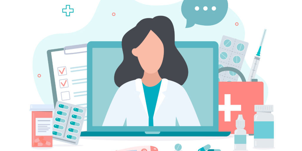 Online doctor concept. Expert advice via your computer. Flat vector illustration.